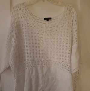 Lane Bryant Woman's 22 White Crochet Style Top